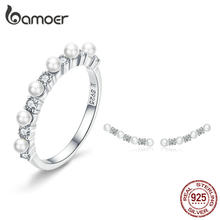 BAMOER Pearl Jewelry Sets 925 Silver Stackable Finger Ring and Earrings for Women Elegant Fine Jewelry Female Gifts ZHS116(China)