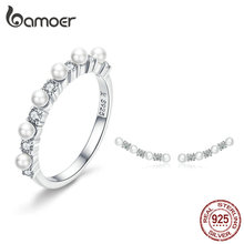 BAMOER Pearl Jewelry Sets 925 Silver Stackable Finger Ring a