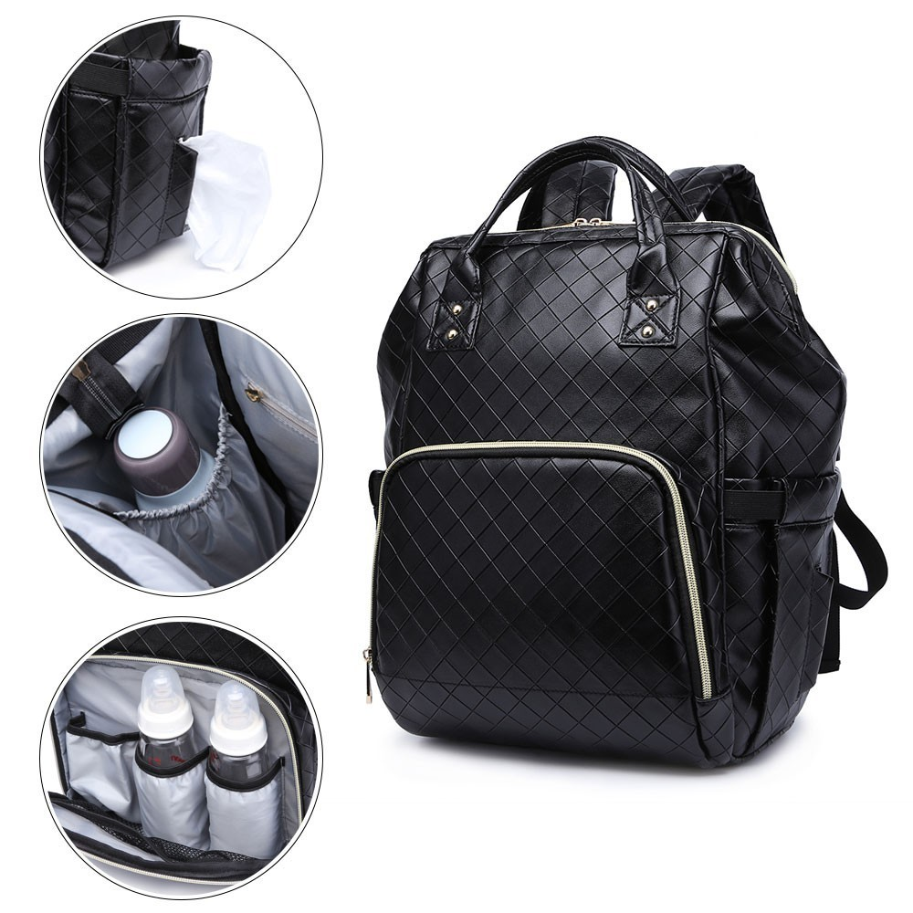 Diaper Bag for Mother Black Plaid PU Fashion Mommy Bag for Baby Care Brand Large Capacity