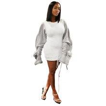 Autumn Fashion Women Casual O-Neck Ruffles Hoodie Oversized Bomber Dress Patchwork Long Sleeve Sweatshirts
