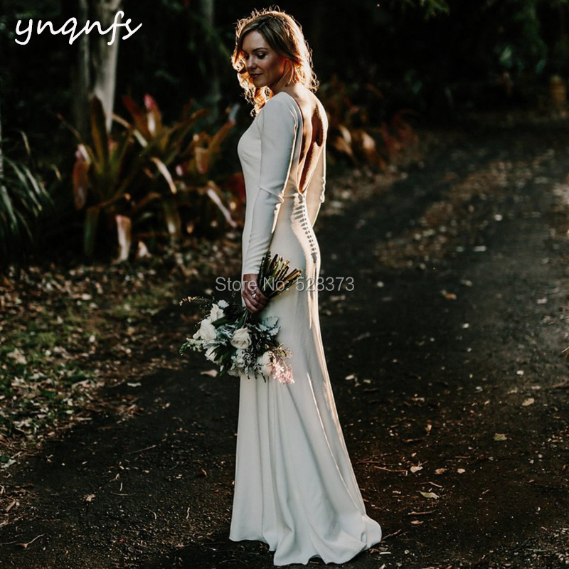 YNQNFS W112 Boat Bare Button Back Mermaid Satin Vestido De Noiva Bridesmaid Dresses Simple Boho Wedding Bridal Dress Party Gown
