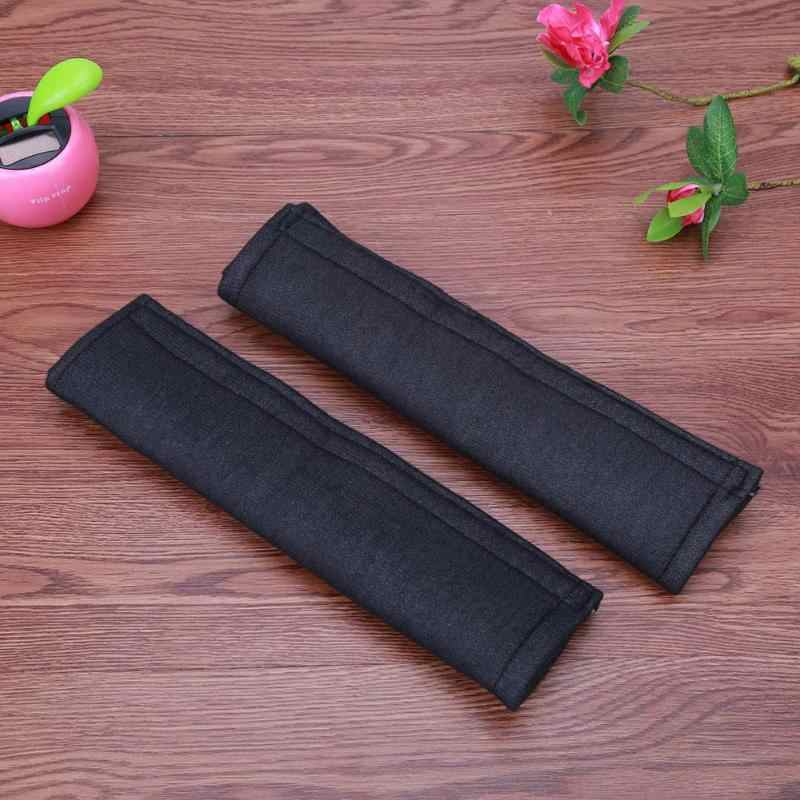 2Pcs Car Styling Car Safety Seat Belt Strap Soft Shoulder Pads Cover Black Cotton Cushion Harness Pad Protector For Adult Black