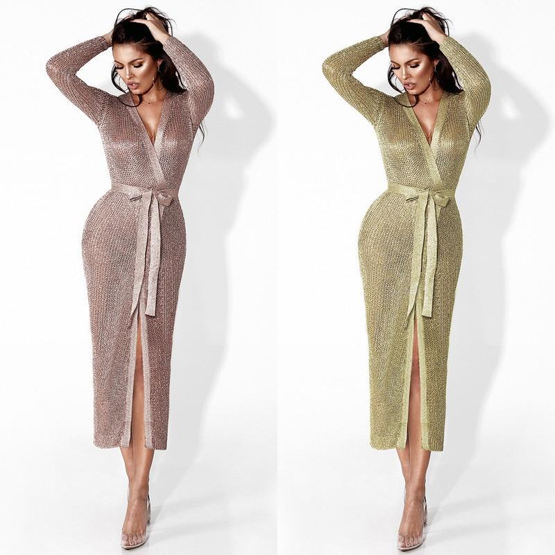 Paillettes rose or tricoté robe mode femme vêtements vêtements élégant sexy fête longues robes à manches longues ukraine robe printemps