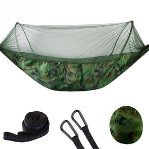 Image 3 - Hamaca de viaje para acampar portátil, doble/individual, resistente, cama colgante de tela de paracaídas con mosquitera