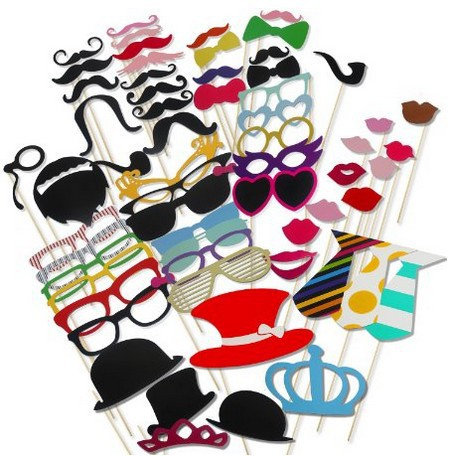 60Pcs Photo Booth Prop Party Hat Mustache Lip Photobooth Props Party Birthday Party Favor