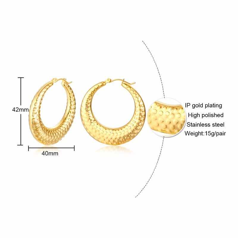 Для женщин Подвеска в виде полумесяца серьги в виде колец, золотистой женское из нержавеющей стали ювелирные изделия