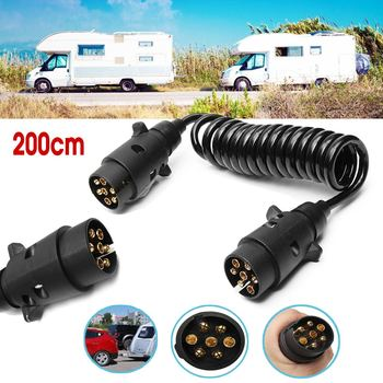 2M 200cm 7 Pin Car Towing Trailer Light Board Extension Cable Lead Truck Plug Socket Wire Part Couplings Circuit Plug Socket