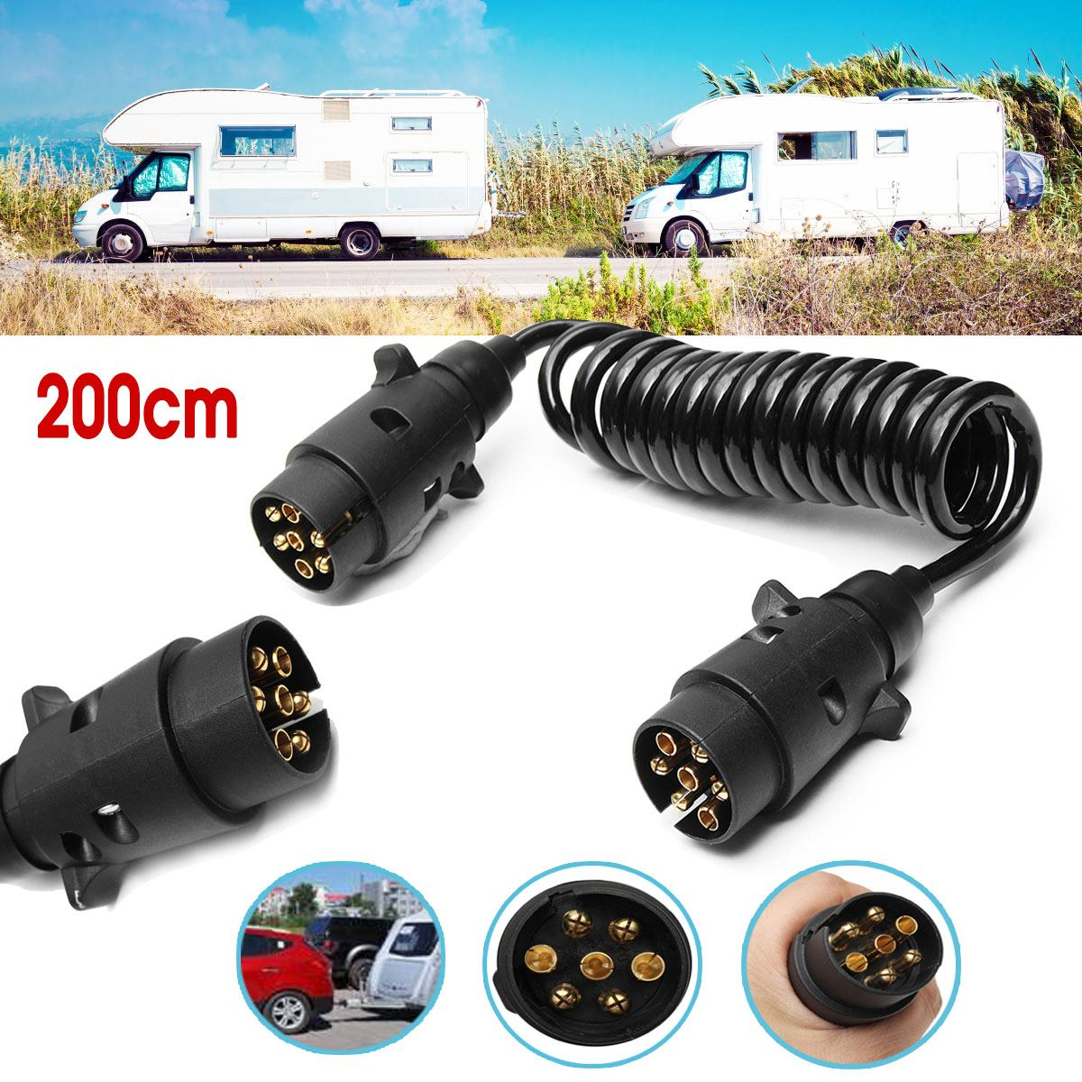 Aliexpress Com   Buy 2m 7 Pin Car Towing Trailer Light Board Extension Cable Lead Truck Plug