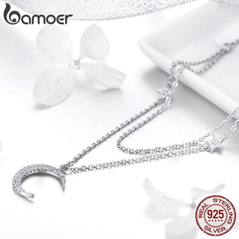 Image 4 - BAMOER Genuine 925 Sterling Silver Moon & Star Double Layers Chain Pendants Necklaces for Women Sterling Silver Jewelry BSN038-in Necklaces from Jewelry & Accessories