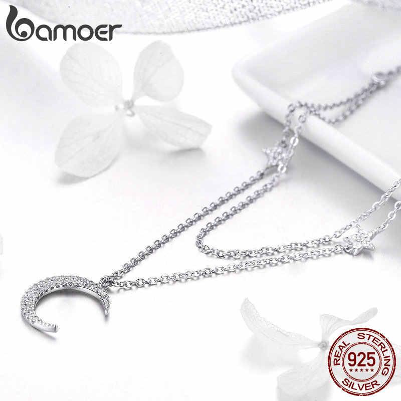 BAMOER Genuine 925 Sterling Silver Moon & Star Double Layers Chain Pendants Necklaces for Women Sterling Silver Jewelry BSN038