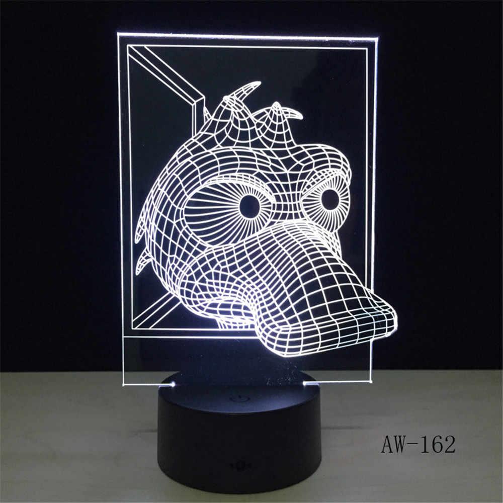 Kawaii животных желтая утка 3D USB креативная Светодиодная лампа Развивающие детские игрушки 7 цветов Изменение ночник ребенок Ванная комната Декор AW-162