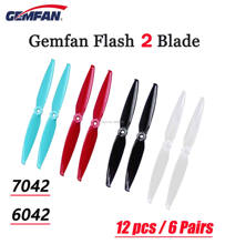 12 pcs/6 Pairs Gemfan Flash 7042 7.0x4.2 / 6042 6.0x4.2 PC 2-blade Propeller 5mm Mounting Hole FPV Propeller for FPV RC Drone(China)