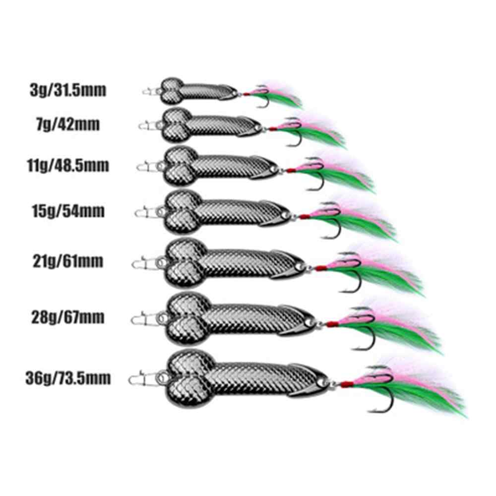 1Pcs Metal Fishing Lures Sequins Penis Spoon DD feather Hook Ultralight Artificial Hard Lure Wobbles Spinner Fishing Bait Tackle