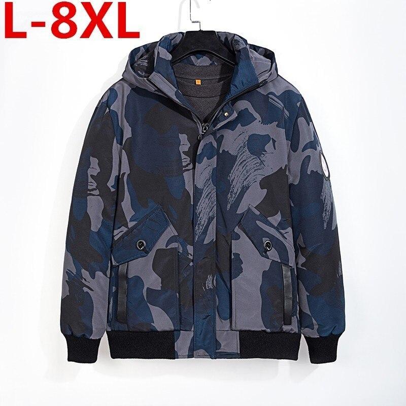 Большой размер 8XL 7XL 6XL зимняя куртка на утином пуху Мужская камуфляжная куртка мужская Толстая теплая Мужская s белая куртка на утином пуху