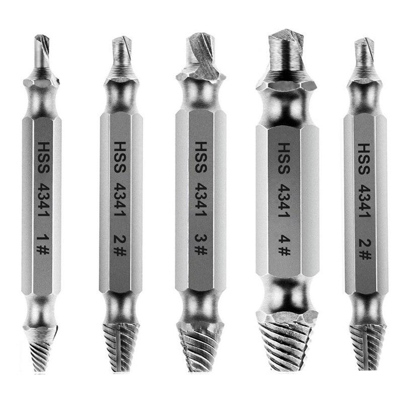 BIFI-5 Pieces Screwdriver Extractor Screwdriver Set Screw From HSS4341-silver