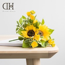 Dream House DH Sunflower Short Rod Hold Bunch Of Flowers Artificial Fake Silk Bouquet For Vase Home Decoration Flower