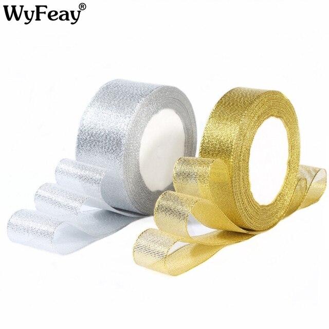 Vàng/Bạc Lụa Satin Organza Ribbon 0.6-5 CM Long Lanh Thêu Hành Tây Băng cho Đám Cưới Bánh Trang Trí Món Quà nguồn Cung Cấp nghề
