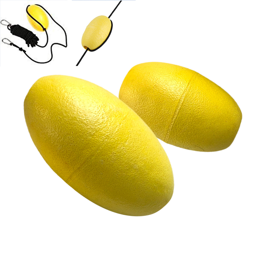2 Pieces Lightweight Yellow EVA Drift Anchor Float Buoy For Tow Rope Throw Line Canoe Boat Kayak Accessories