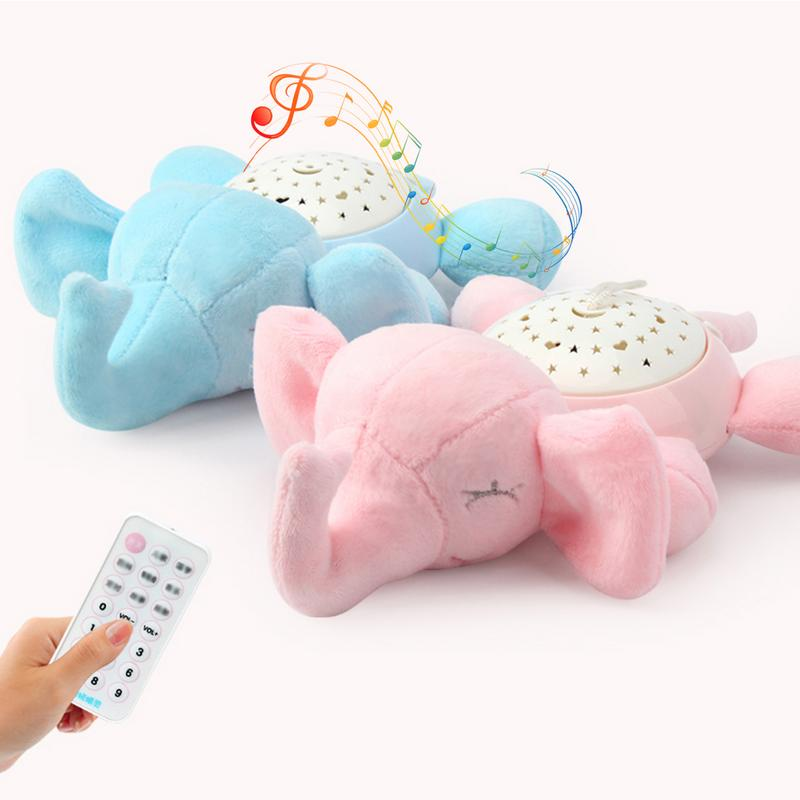 per Plush Animals Star Projector Nightlight with Music Stuffed Toys Luminous Projection Comfort Toys for Kids Baby Toddlers Elephant