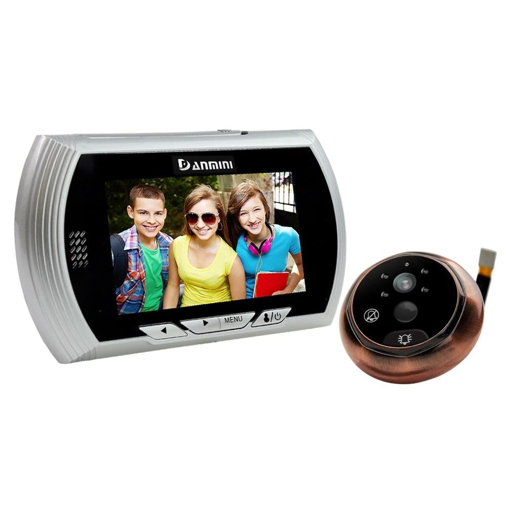 DANMINI Golden Door Viewer Camera 4.3 Inch TFT LCD Screen Peephole Viewer Night Vision Digital Doorbell Video Recorder