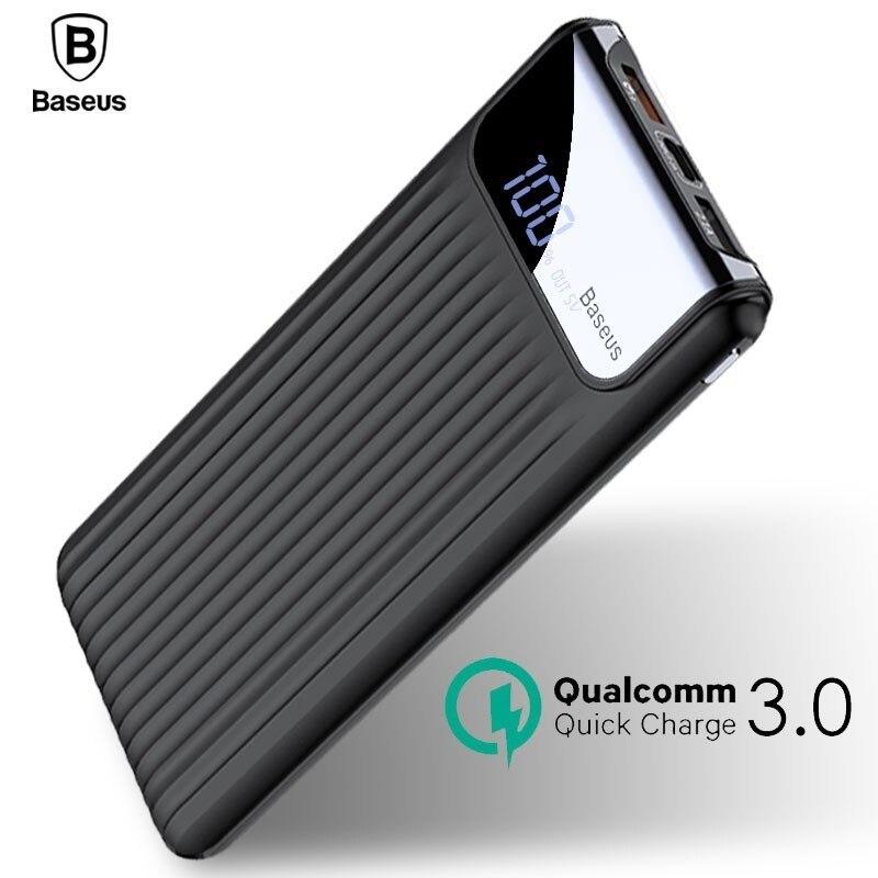 Baseus carga rápida 3,0 banco de potencia 10000 mAh USB Dual LCD Powerbank batería externa cargador para teléfonos móviles tabletas Poverbank