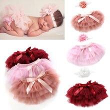 Милая многослойная балетная юбка-американка для новорожденных девочек, трусики бальное платье, юбка-пачка+ головной убор, 2 предмета