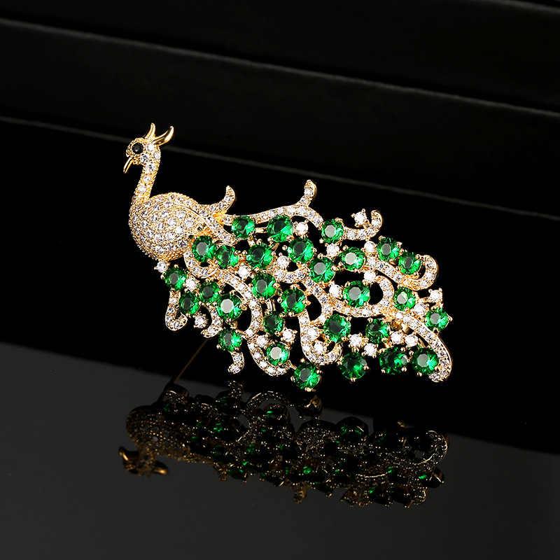 Nada Emas Cubic Zirconia Berwarna Peacock Bros Pin Bros Berkualitas Tinggi untuk Wanita Wanita Perhiasan Gaun Aksesoris XR01093