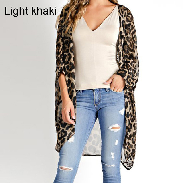 Celmia 2019 Summer Beach Leopard Printed Kimono Cardigan Women Cover Up Long Tops Blouse Loose Shirt Blusas Mujer Plus Size 5XL 3