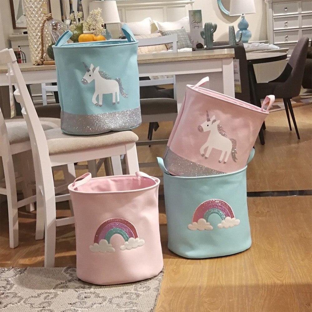 Cesto de Roupa - Organizador de Brinquedos - Infantil Unicórnio e Arco Íris
