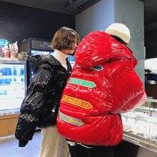 Ropa acolchada de algodón con fideos claros para hombre, abrigo grueso informal holgado de retales con letras de Edición coreana