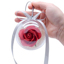 Eternal FLower Rose Glass Crystal Ball Artificial Flower Wedding Gifts Simulation Eternal Life Roses Ball Drop Shipping(China)