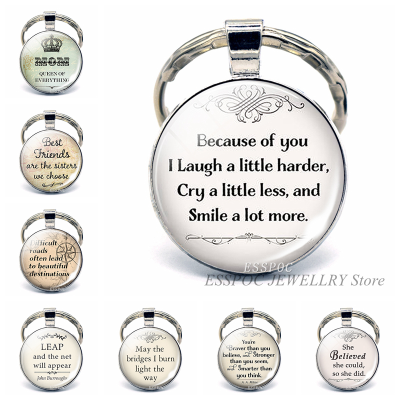 Best Friends Quote Key Chain Ring  Because of You I Laugh A Little Harder, Cry A Little Less  Friendship Keychain Pendant Gift image