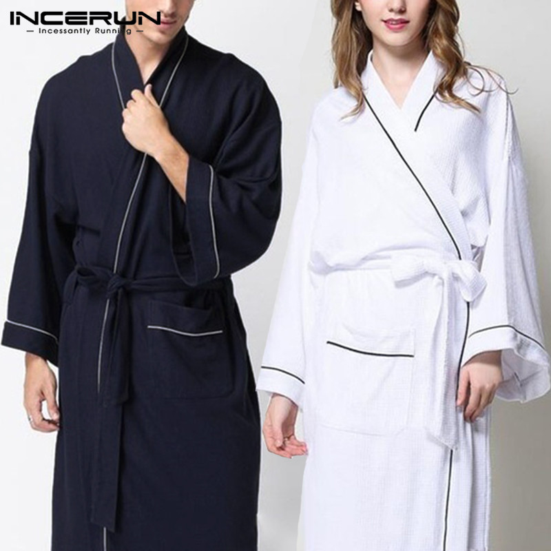 Fashion Women Men Bathrobes Pajamas Long Sleeve Kimono Sleepwear Belt Solid Couple Male Ladies Homewear Robe Comfy Nightgown 5XL