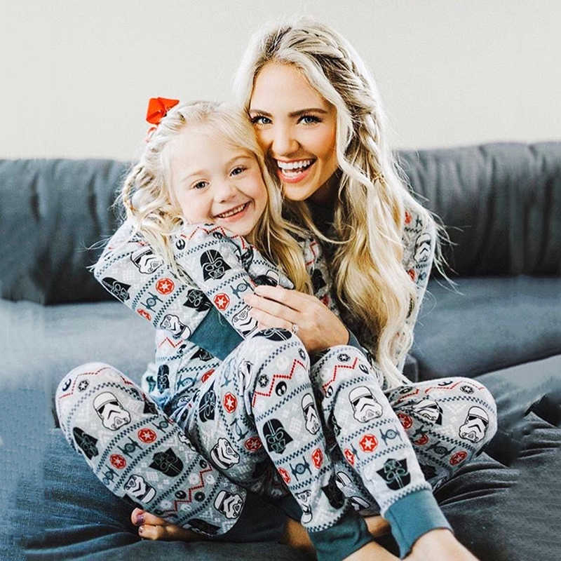b7e35e20f8d6 Family Matching Pajamas Set mother and daughter clothes Star Wars Pjs Women  Girl Boy Xmas Cotton