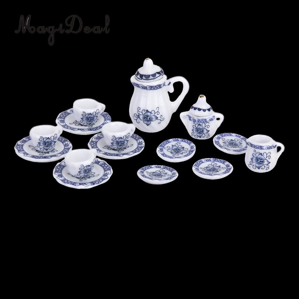 15Pcs Dollhouse Miniature Dining Ware Porcelain Tea Coffee Milk Set Dish Cup Plate Blue for Restaurant Furniture Decor 休闲宋词鉴赏辞典