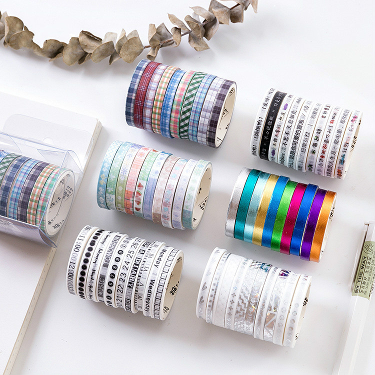 10Rolls/Set Slim Kawaii Japanese Stationery Laser Scrapbooking Foil Washi Tape Masking Tape Decorations For Stationery Supplies