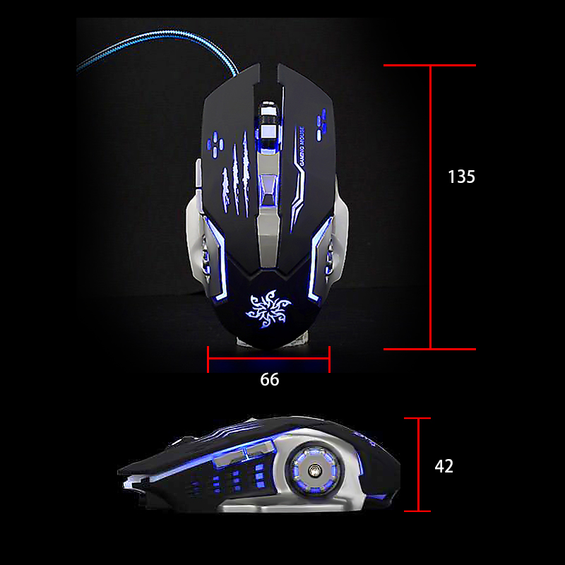 Wired Gaming Mouse rgb 6 Button Dpi 2400 LED Optical USB Computer Mouse Gamer Mice Silent Game Mouse For Computer Pc Laptop in Mice from Computer Office