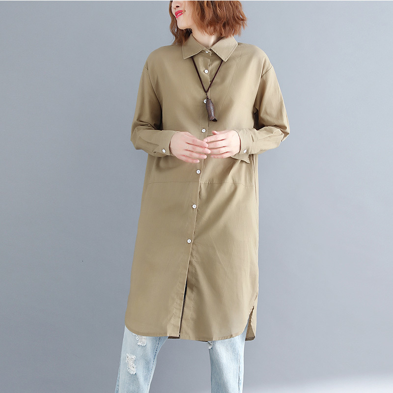 #5813 Autumn Khaki/navy Blue Lapel Collar Long Shirt Women Cotton Linen High Quality Straight Draped Shirts England Style Trendy