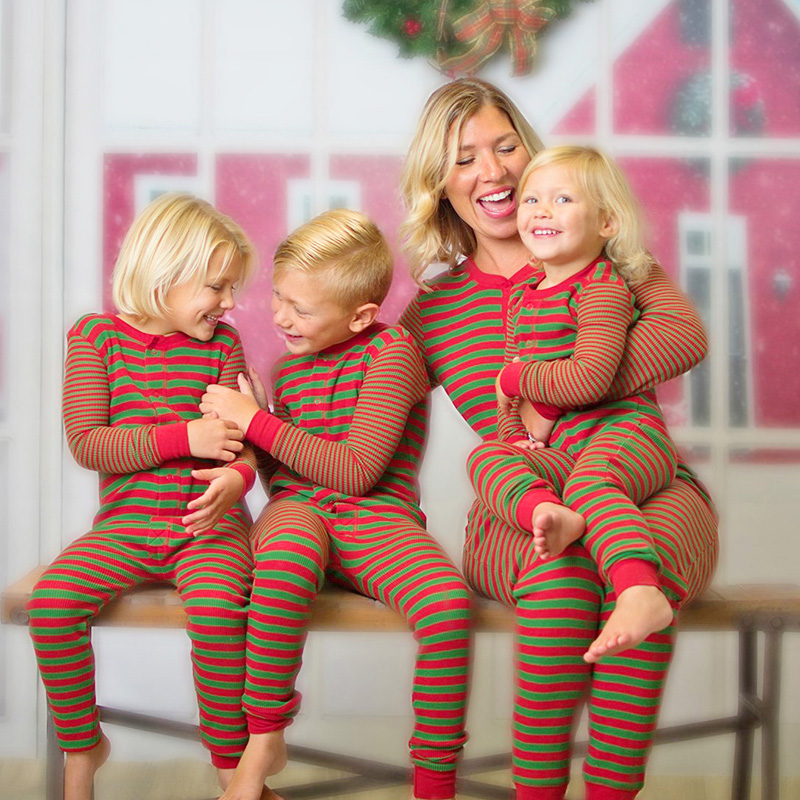 Fashion Christmas Pajamas Playsuit Striped Casual Sleepwear Jumpsuit Nightwear Xmas Matching Family Outfits Adult Kids Clothes