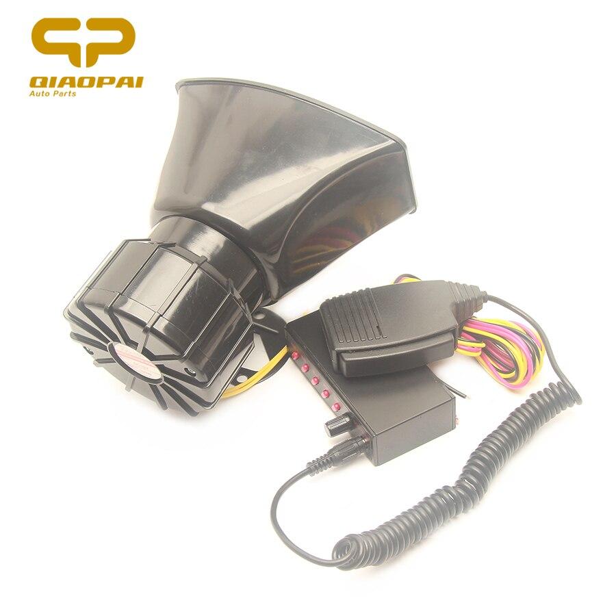 12V Car Horn Siren Police Sound 5 Mutil Tone Alarm Electric Horn 100W PA Speaker System Megaphone Loud for VW Train Boat Ship