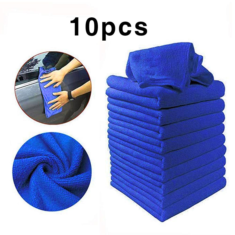 10 PCS Microfiber Car Cleaning Towel Automobile Motorcycle Washing Glass Household Cleaning Small Towel