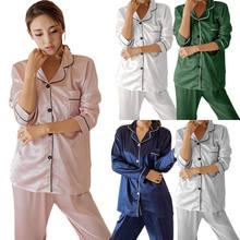 Novas mulheres verão de seda cetim pijamas manga longa conjuntos casa terno pijamas azul verde rosa prata branco