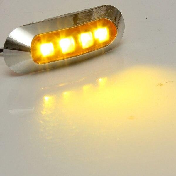 10 sztuk/5 sztuk DC 10V-30V 12V 24V 4 LED samochodów chromowana ramka boczne światła obrysowe LED lampa tylna Auto samochód autobus ciężarówka żółty czerwony biały