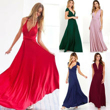 Women Lady Evening Chiffon Dress Convertible Multi Way Wrap V-Neck Formal Long Elegant