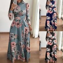 Купить с кэшбэком Autumn Winter Floral Women Beach Dresses Multicolor Elegant Long Sleeve High Waist A Line Chic Dress Ladies O-Neck Retro Dress