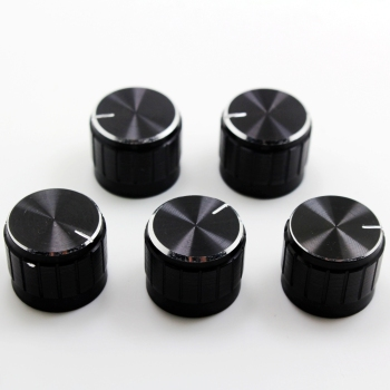 5PCS Aluminum Alloy Potentiometer Knob Anti Slip Single and Double Potentiometer Special 21*17 Black