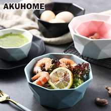 Ceramic Salad Bowl Tableware Diamond Edge Soup Bowls Simple And Creative Salad Geometric Shape Bowl Akuhome 5 6 8 inch japanese cherry blossom ceramic ramen bowl large instant noodle rice soup salad bowl container porcelain tableware