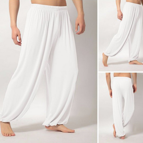 Мужские Супер Мягкие штаны для занятий йогой, штаны для занятий пилатесом, Свободные повседневные шаровары, свободные широкие штаны для отдыха, Мужские штаны XRQ88
