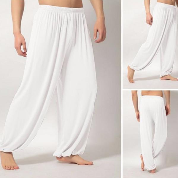 Men Super Soft Yoga Pilates Pants Loose Casual Harem Loose Wide Leg Lounge Pants Male Trousers XRQ88