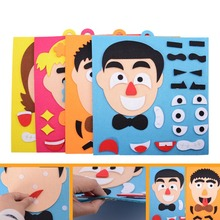 1Set Kids Toy DIY Emotion Change Puzzle Facial Expression Learning Toys for Children YJS Dropship children baby learning developmental versatile flap abacus kids wooden toys yjs dropship